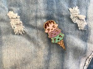 Image of Pastel Ice Cream Cone Enamel Pin
