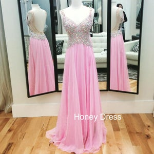Image of Pink Ruffles Chiffon Beaded V-Neck Strap Prom Dress,V Back Net Prom Gown
