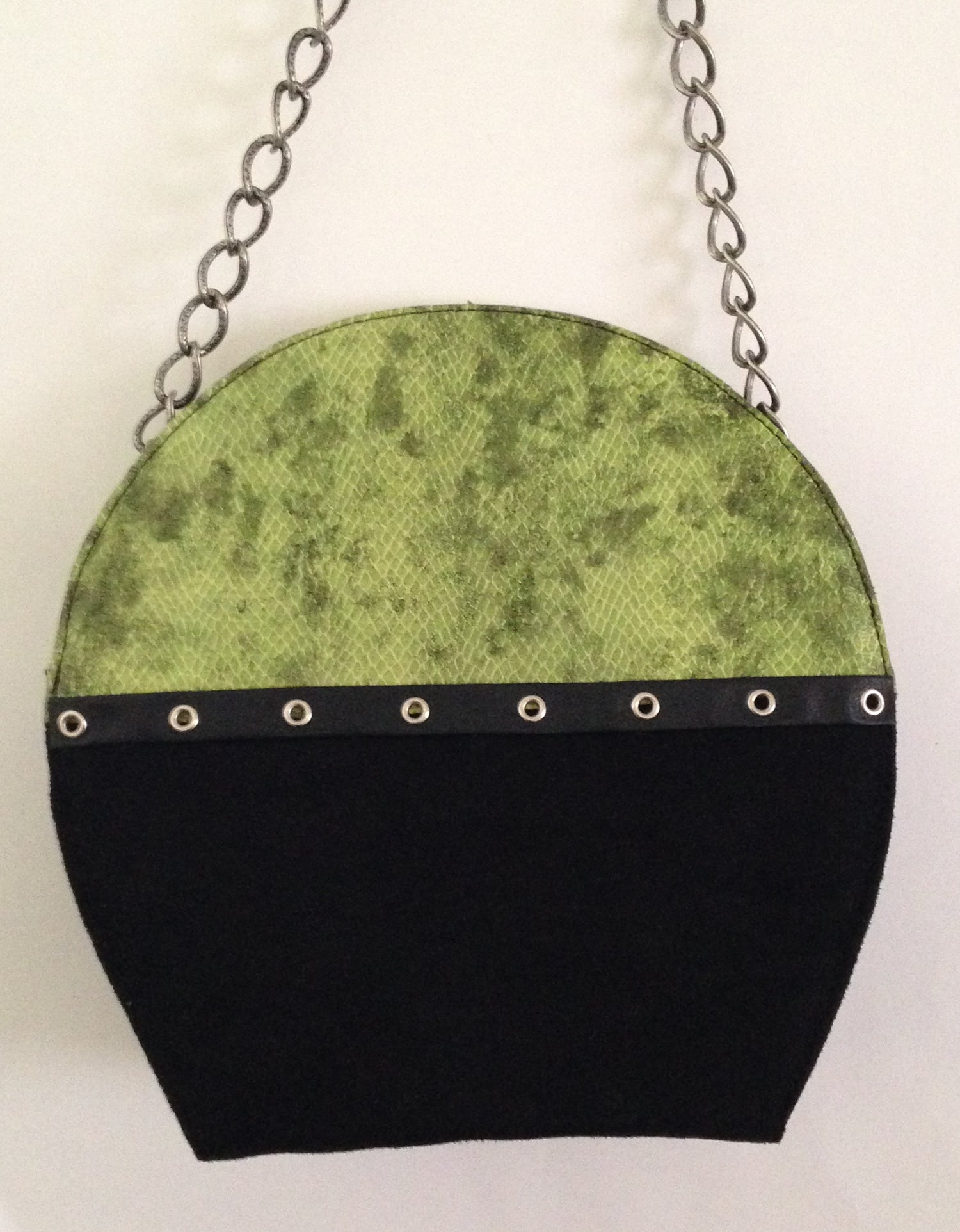 Image of Black Handbag Suede with Green Faux Snakeskin
