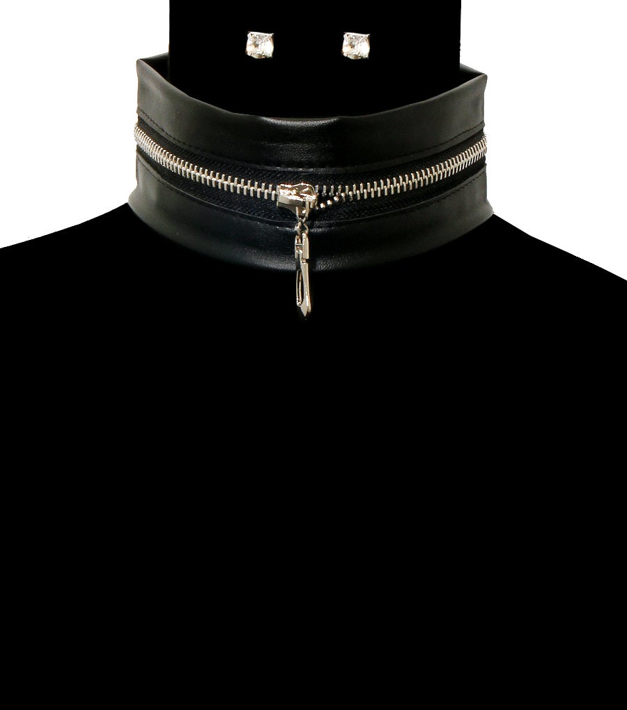 Image of Leather Zipper Choker