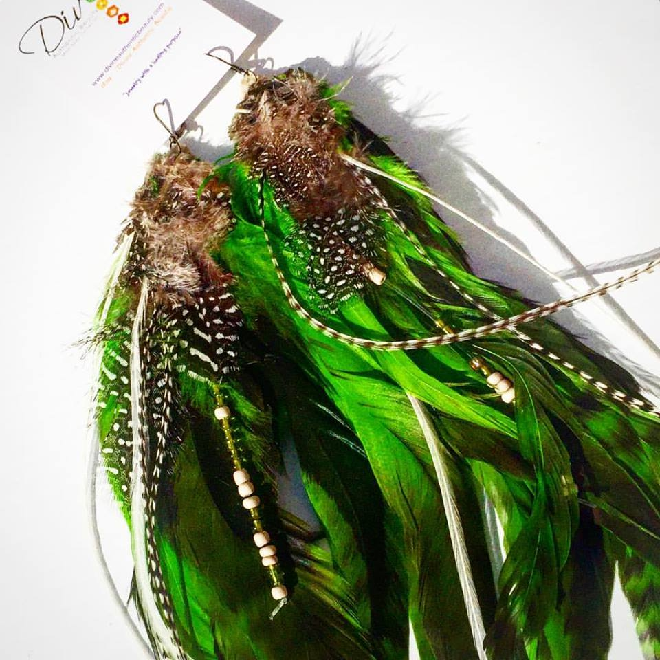 Image of Green Goddess Feather Earrings