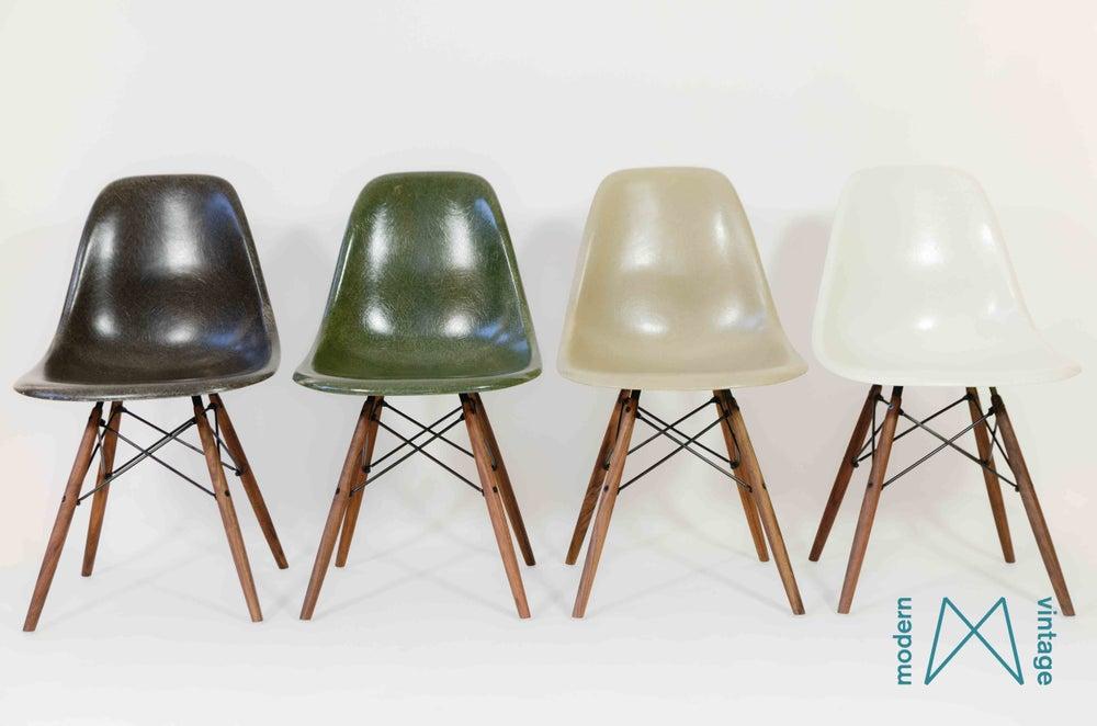 Image of Eames multicolor set Herman Miller Vitra DSW/DSX/DSR forest green greige off white charcoal
