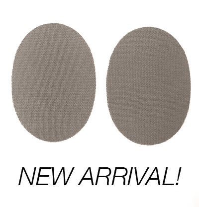 Image of IRON-ON CASHMERE ELBOW PATCHES - TAUPE OVALS