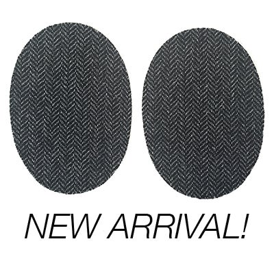 Image of Iron-on Wool Elbow Patches -Charcoal Black Herringbone - Limited Edition!