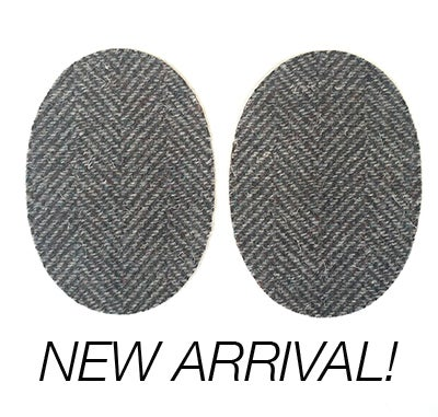 Image of Iron-on Wool Elbow Patches -Flecked Brown/Grey Herringbone - Limited Edition!