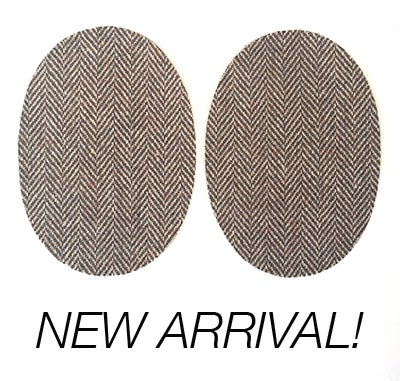 Image of Iron-on Wool Elbow Patches -Brown Herringbone - Limited Edition!