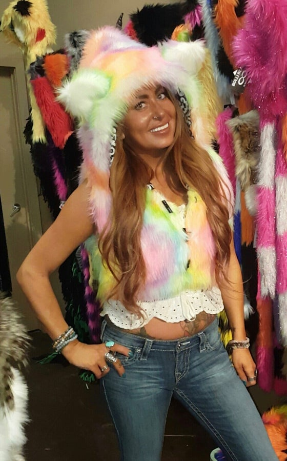 Image of Cotton Candy Fun Fur Vest with Hood