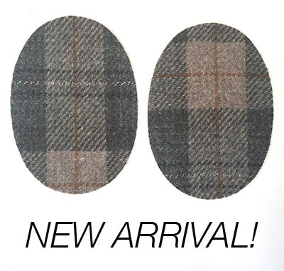 Image of Iron-on Wool Elbow Patches -Taupe / Grey PLAID - Limited Edition!