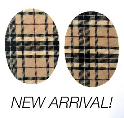Image of Iron-on Wool Elbow Patches -camel/black/cream plaid  - Limited Edition!