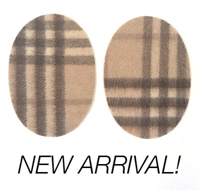 Image of Iron-on Fuzzy Cashmere Elbow Patches  Brown / Cream PLAID - Limited Edition!