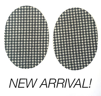 Image of Iron-on Wool Oval Elbow Patches - Black & White Houdstooth - Limited Edition!