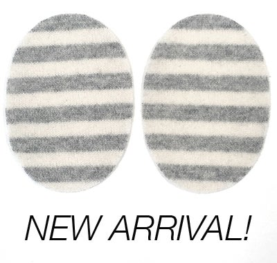 Image of Iron-On Cashmere Elbow Patches - Light Grey & off white Ovals - Limited Edition!
