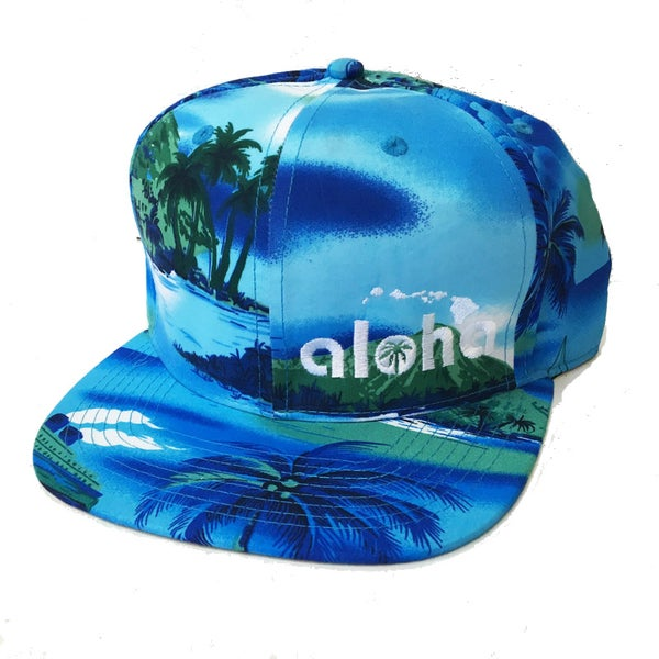 Image of Aloha Blue Palm Tree Island Snapback Hat