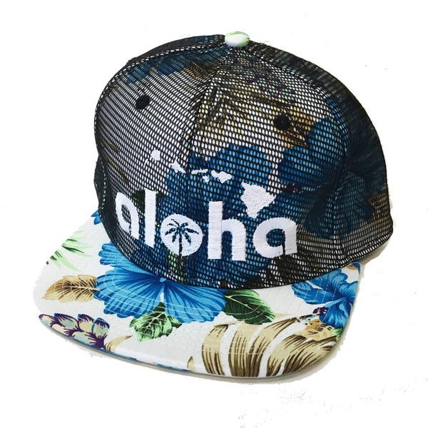 Image of Aloha Blue Hawaii Reverse Mesh Snapback Hat