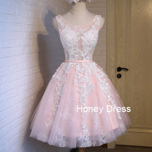 Image of Light Pink Tulle Handmade Short Prom Dress, Cute Homecoming Dresses With Lace Applique