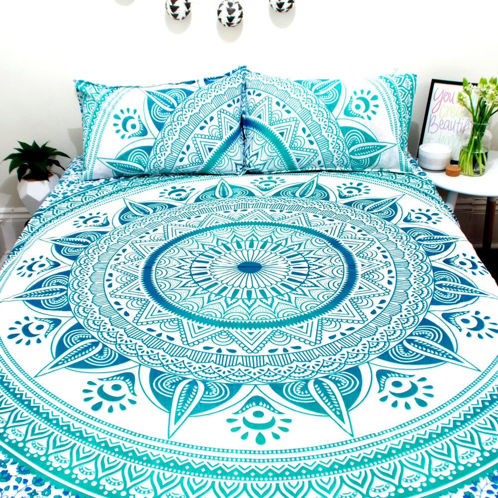 Image of Green Sun Mandala Doona Set-Marked down from $110, NOW