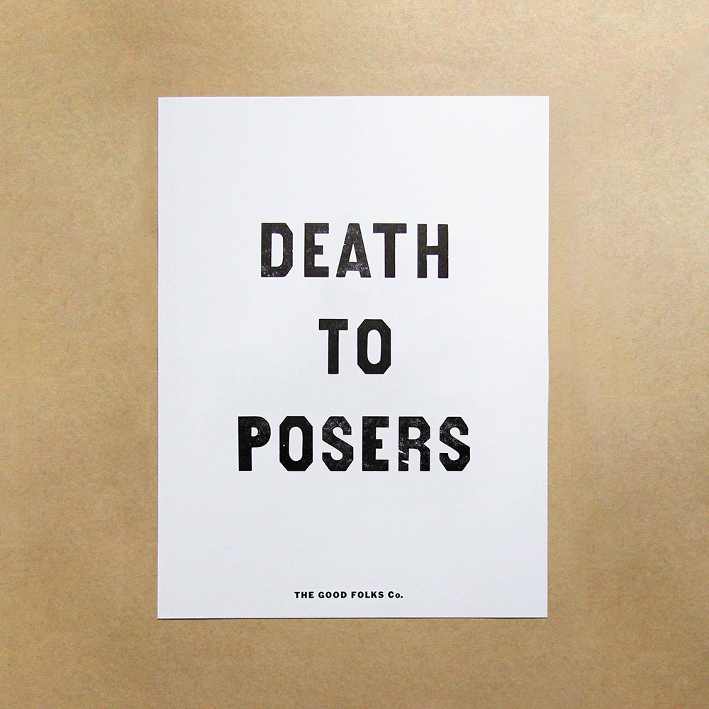 "Image of ""Death to Posers"" Letterpress Print"