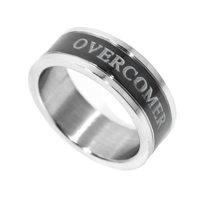 Image of Overcomer - Black Channel Ring - Unisex