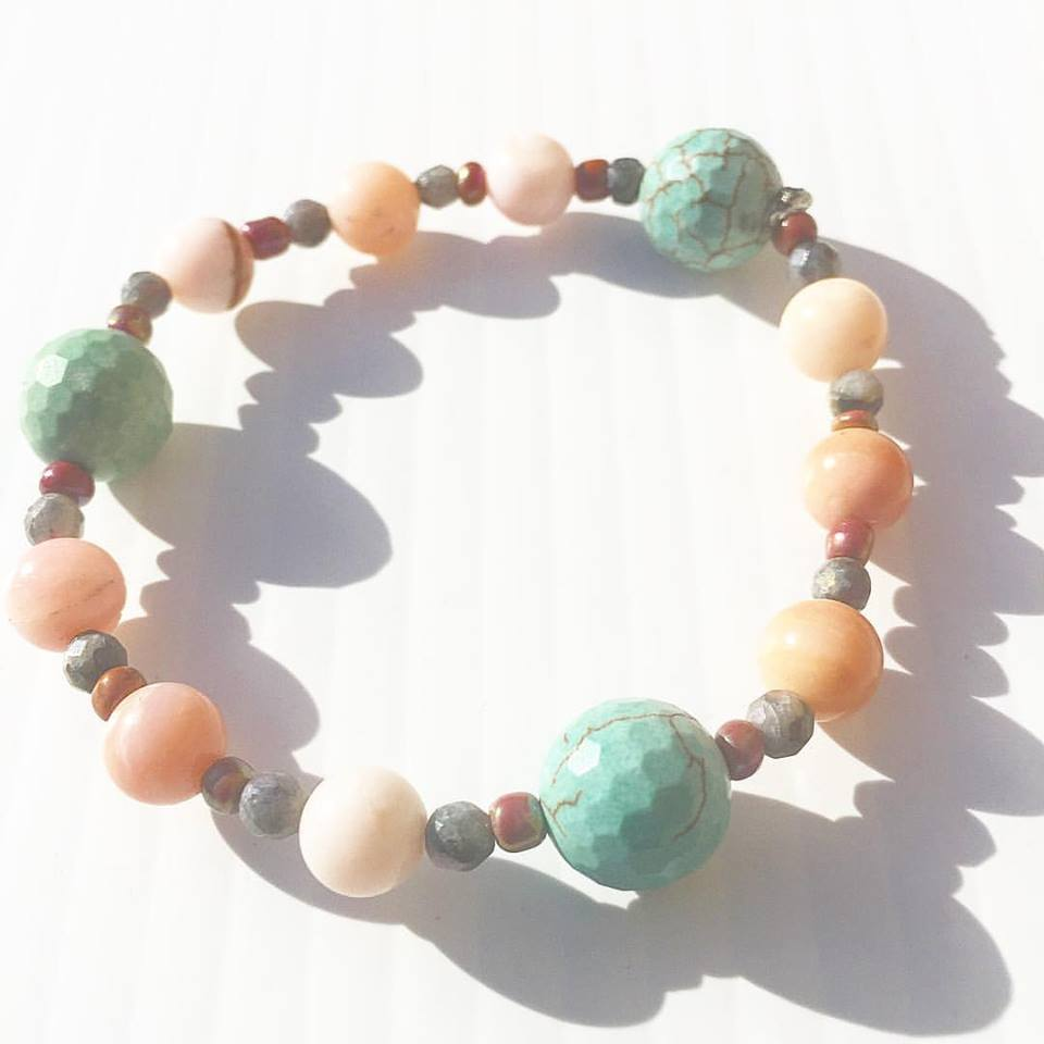 Image of Turquoise and Peruvian Pink Opal and Black Opal