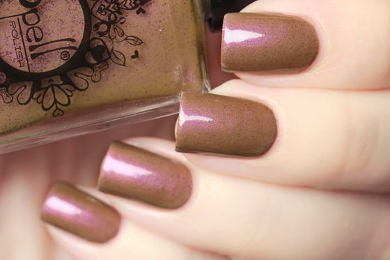 Image of ~Foggy Windows~ fawn brown crème w/a strong violet flash & copper microglitters!