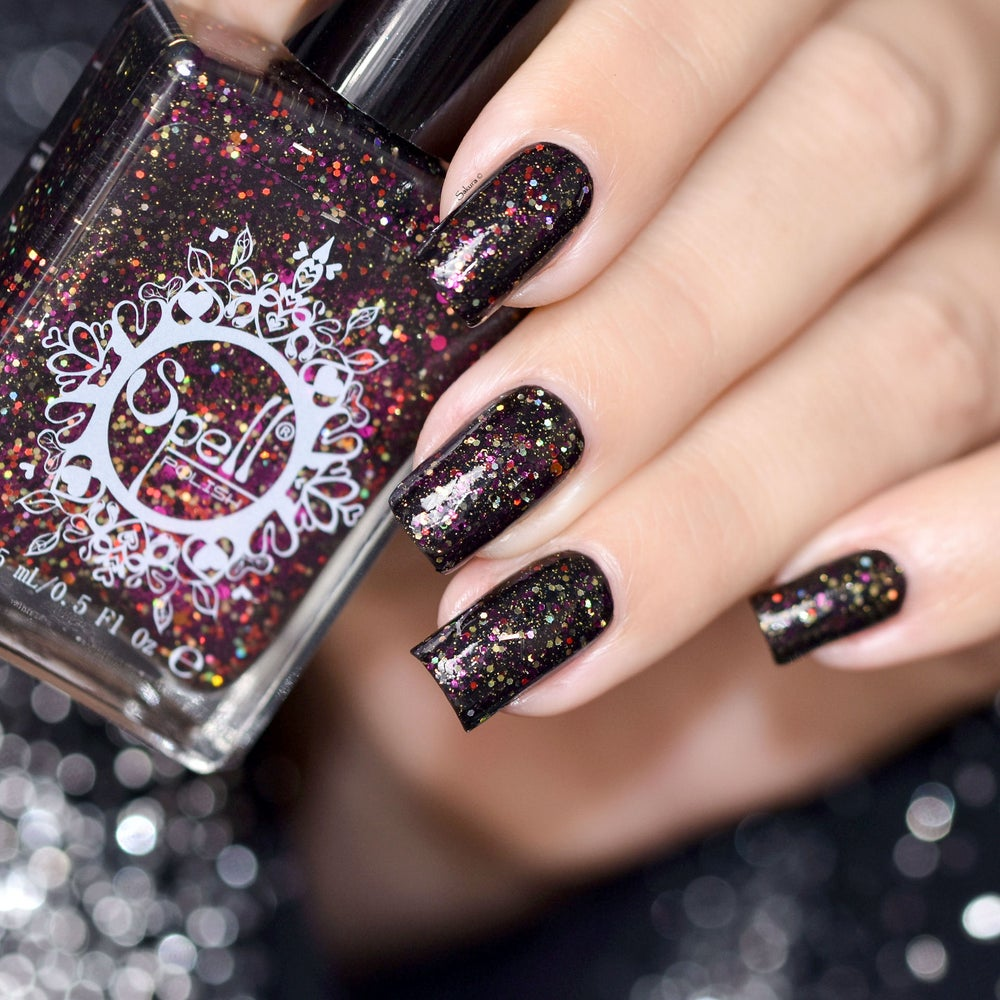 Image of ~Raven's Kraa~ black jelly glitter cranberry, orange, gold, black, red and magenta holo glitters!