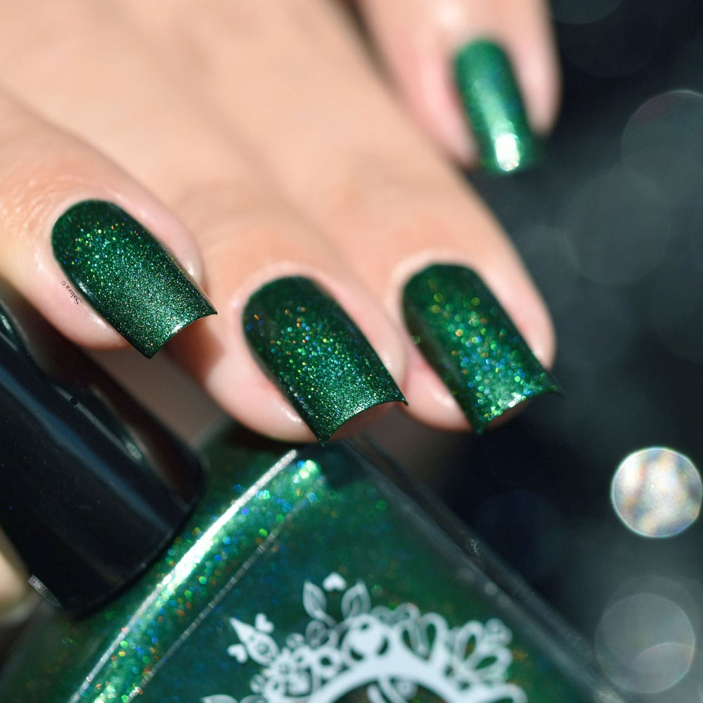 Image of ~Into the Woods~ dark green linear holo w/subtle aqua sheen!
