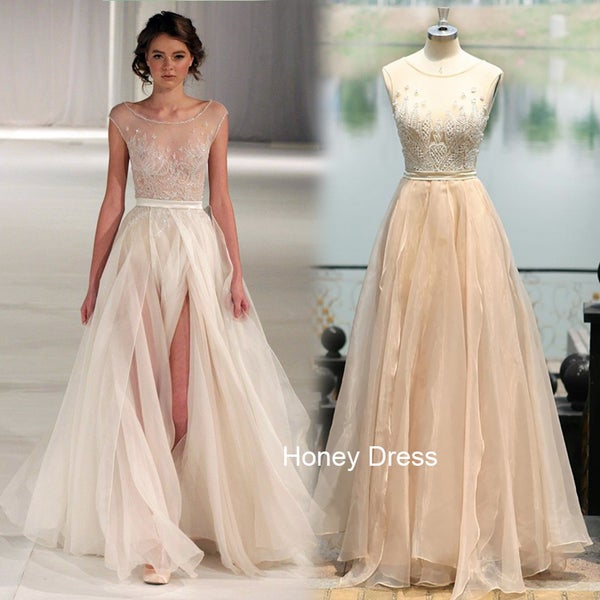 Image of Champagne Tulle illusion Beaded Evening Gown