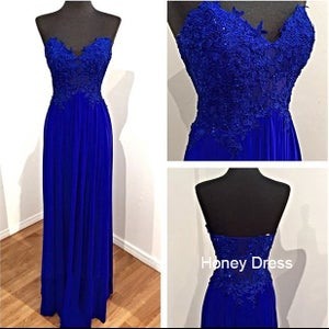 Image of Elegant Blue Chiffon lace appliques Sweetheart Prom Dress, Side Zipper Floor Length Formal Gown
