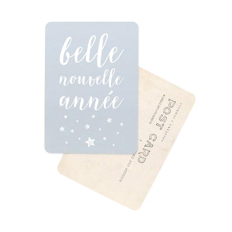 Image of Carte Postale BELLE NOUVELLE ANNÉE / STELLA / GRIS BLEU