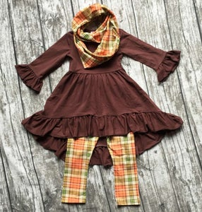 Image of Stylish three piece Brown and Plaid outfit, baby, toddler, girl, holidays, photos
