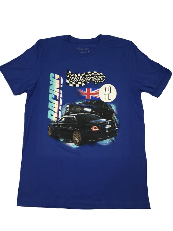 """Image of Club Foreign Racing """"Britain"""" T Shirt """"Blue"""""""