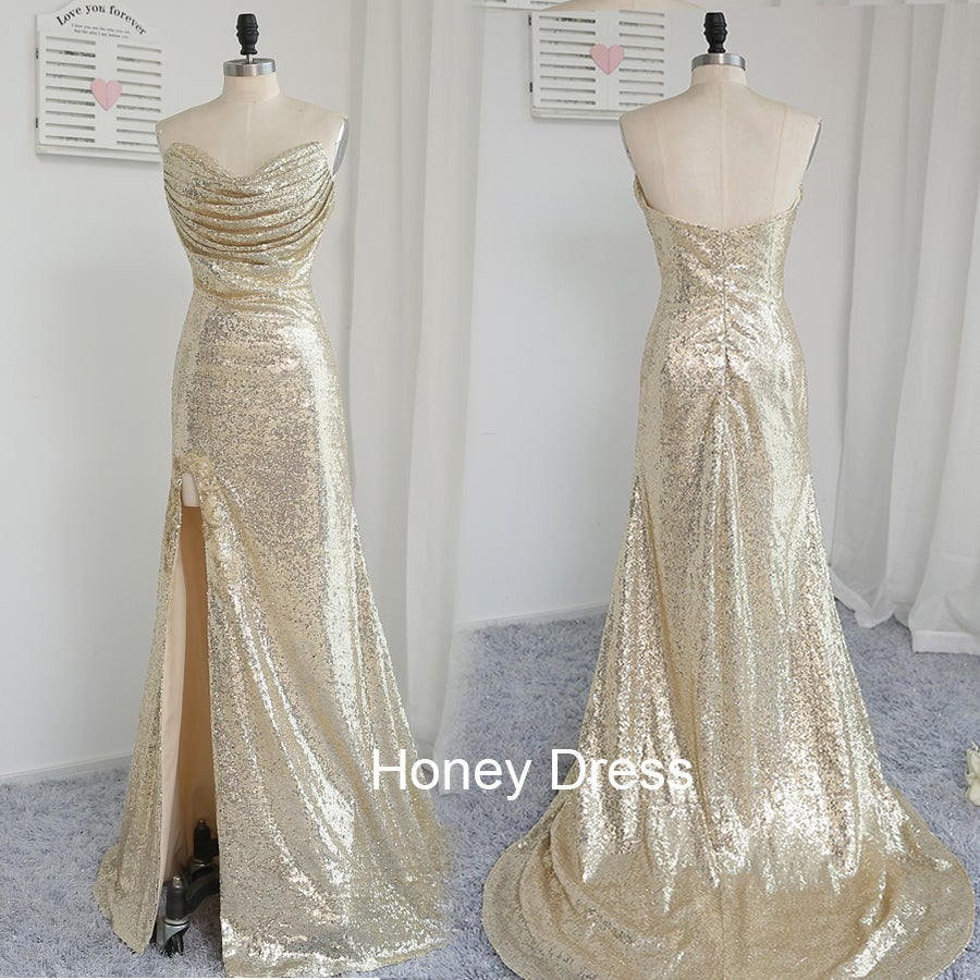 Image of Gorgeous Gold Sequins Pleats Ruching Sweetheart Prom Dress, Side Silt Sweep Train Evening Gown
