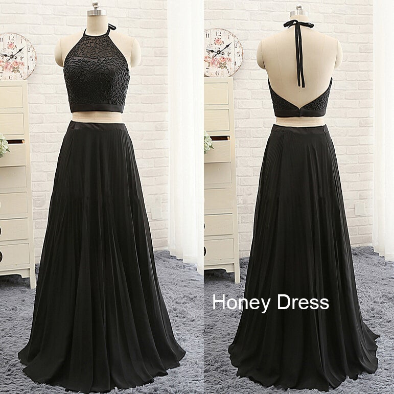 Image of Black Chiffon Two-Piece Halter Prom Gown, Illusion Beaded Bodice V-Back Prom Dresses