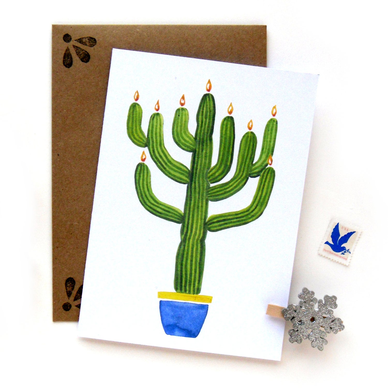 Image of Saguaro Menorah Hanukkah Card