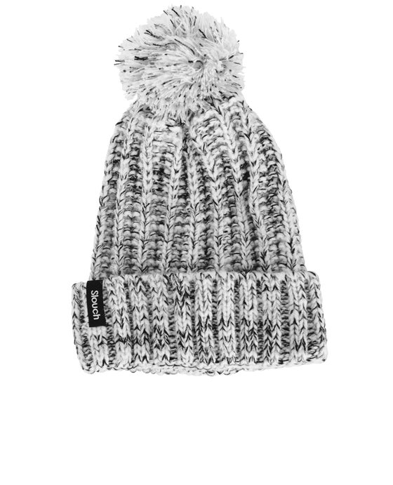 Image of White & Black Pom Pom Beanie