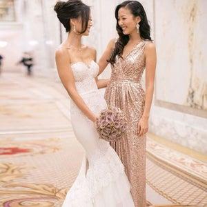 Image of Gold Sequins V-Neck Ruche Floor Length Long Prom Dress,Ruched Bodice V Back Evening Gown