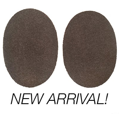 Image of IRON-ON CASHMERE ELBOW PATCHES -Heather Brown OVALS - LIMITED EDITION!