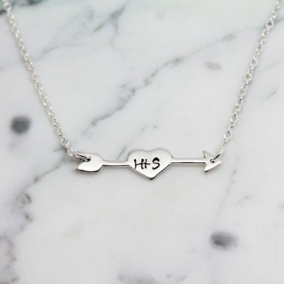 Image of Personalised Heart and Arrow Sterling Silver Necklace