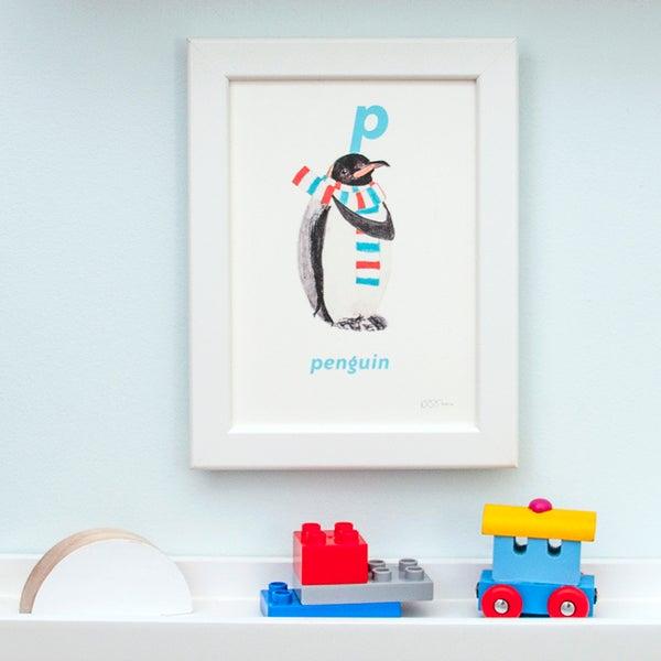 Image of P - Penguin Letter Print