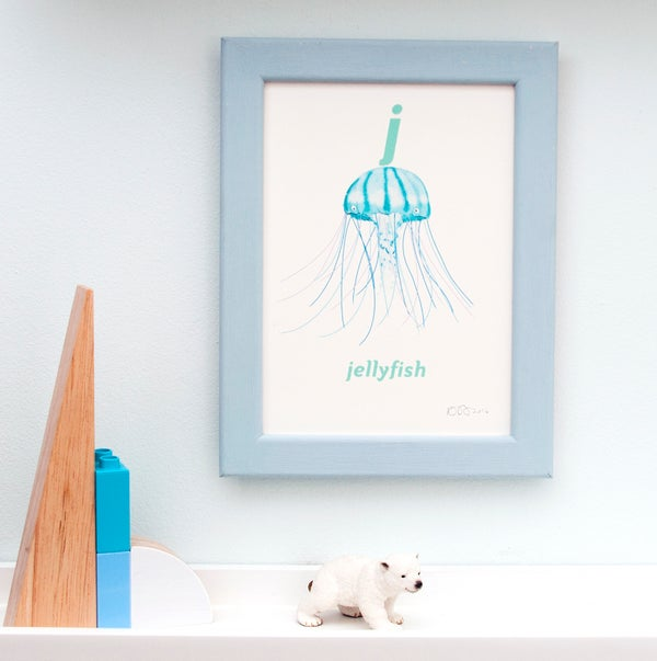 Image of J - Jellyfish Letter Print