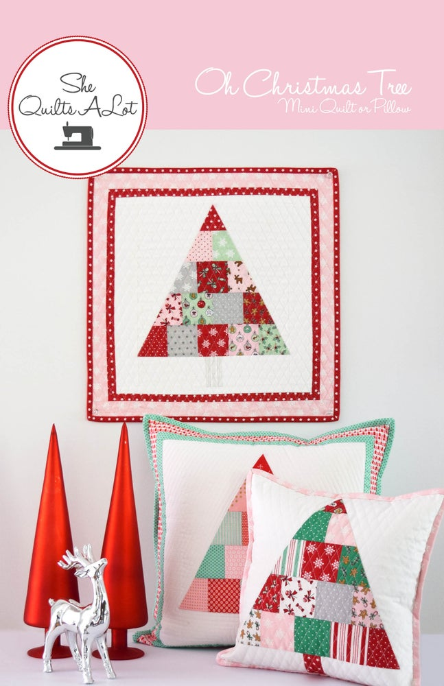 Image of Christmas Tree Mini Quilt & Pillow Paper Pattern
