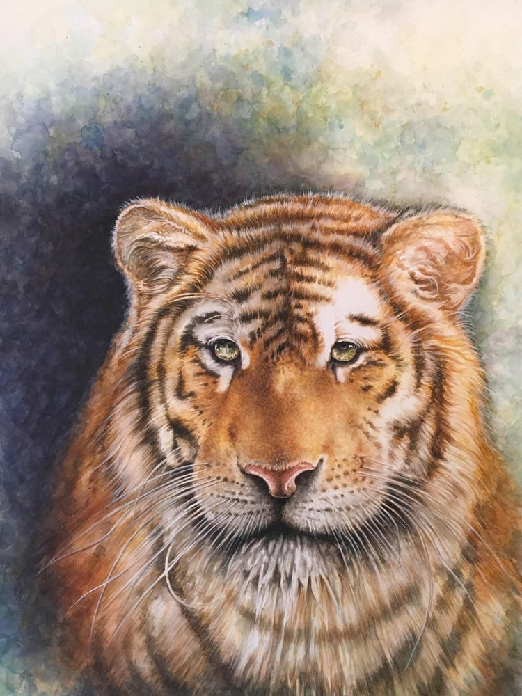 "Image of ""His Emerald Stare"" Watercolor Tiger - Unlimited 18x24 Print"