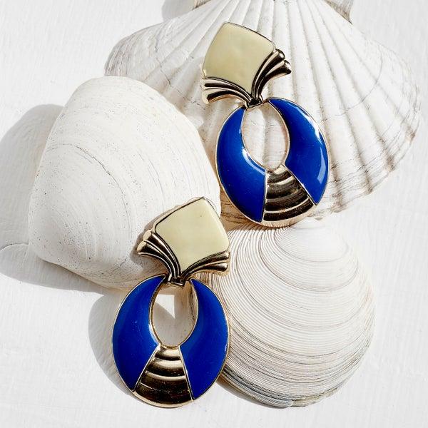 Image of Vintage Blue & Cream Drop Earrings