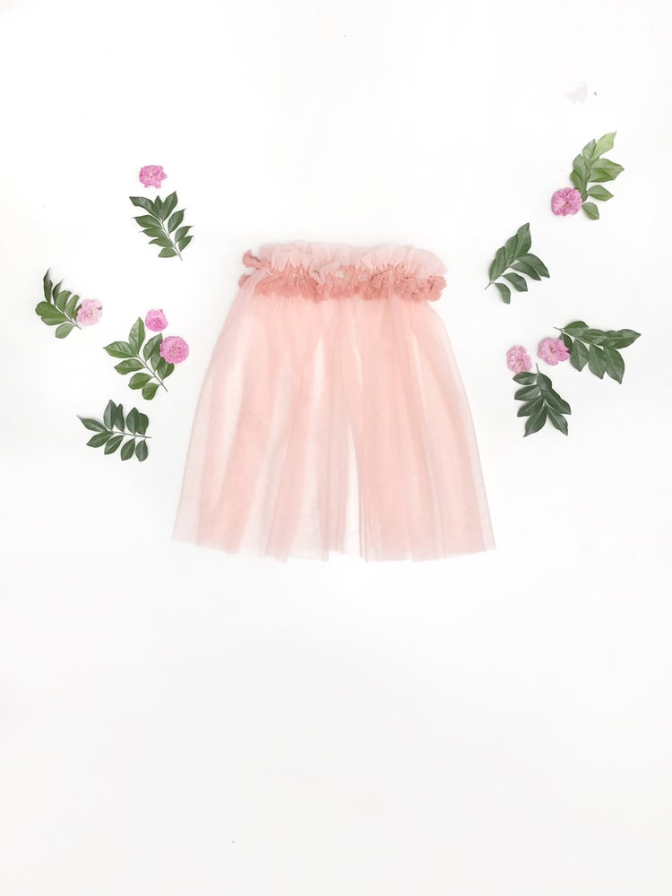 Image of sheer boho tutu in 'coral'