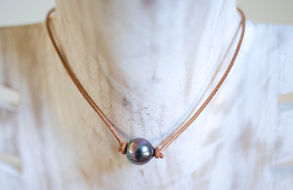 Image of Tahitian Pearl Leather Choker