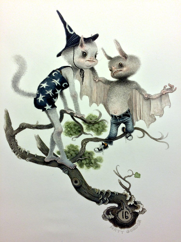 Image of Socky Tries To Help Poof Get Gum Out Of Fur Limited Edition print by Matt Gordon