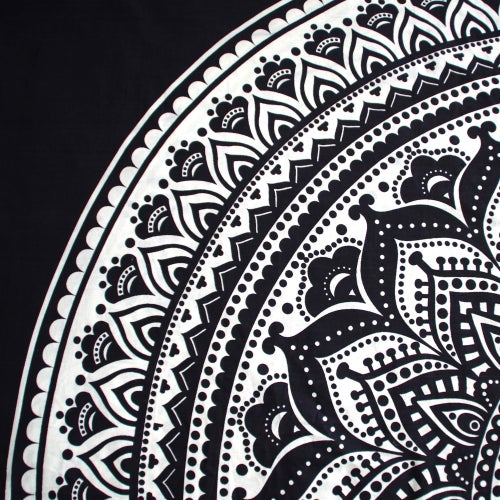 Image of Black and White Mandala Throw or Throw set from
