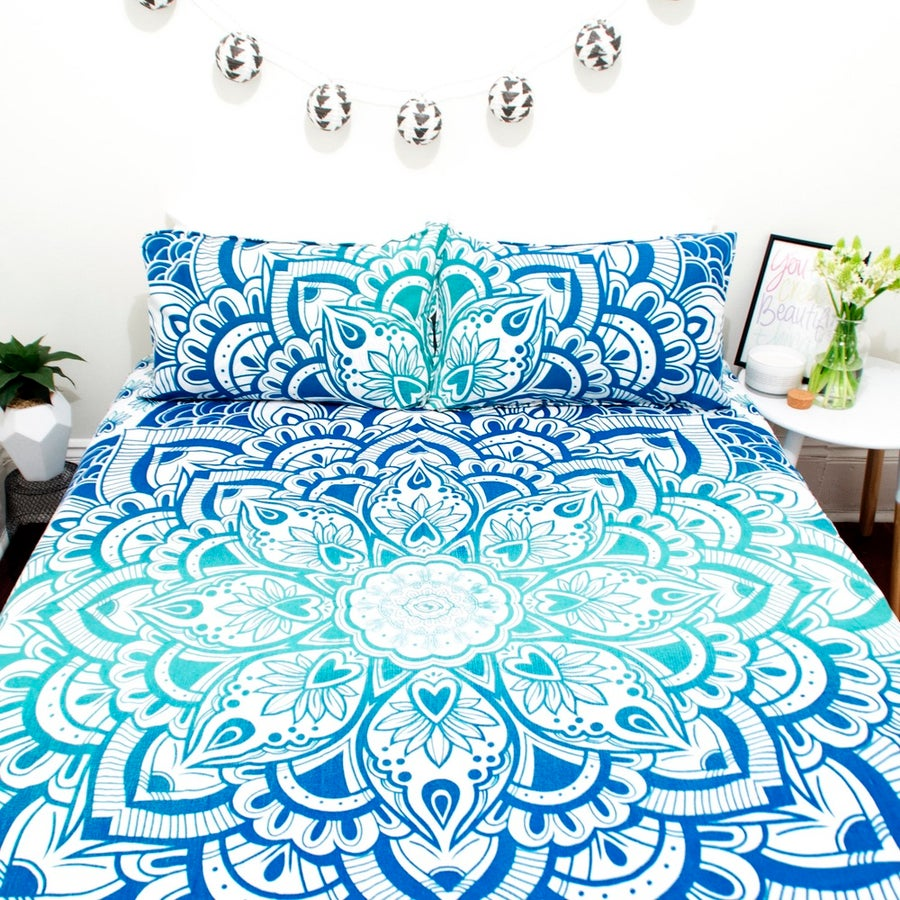 Image of Blue Ombre Lotus Mandala Throw or Throw Set from