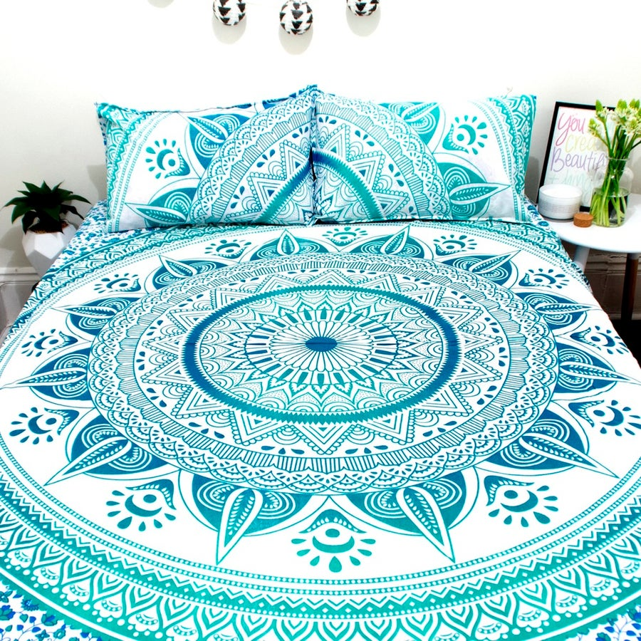 Image of Sea Green Sun Mandala Throw or Throw Set from