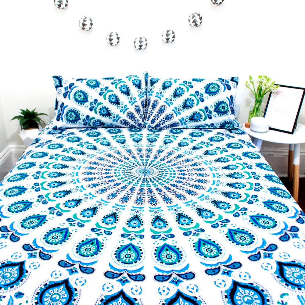 Image of Blue and Teal Mandala Throw or Throw Set, From